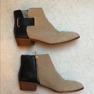 e9526a9542b1 Yosi Samra. You'd Samra black leather and tan suede booties